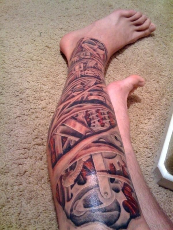 Crazy Grey Ink Biomechanical Leg Tattoo