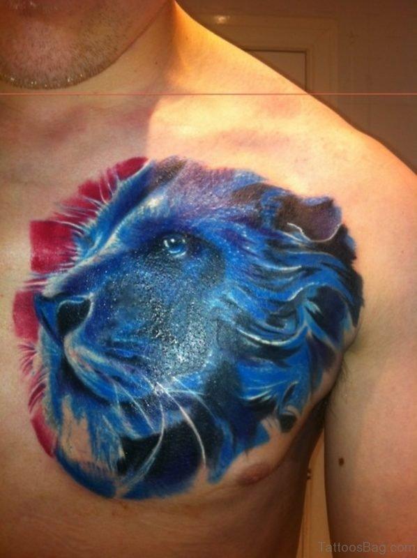 Creative Blue Ink Lion Face Tattoo