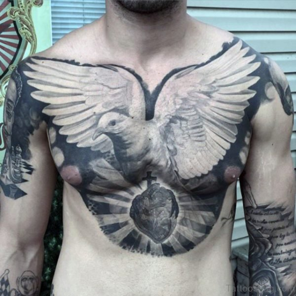 Creative Dove Tattoos On Chest For Men