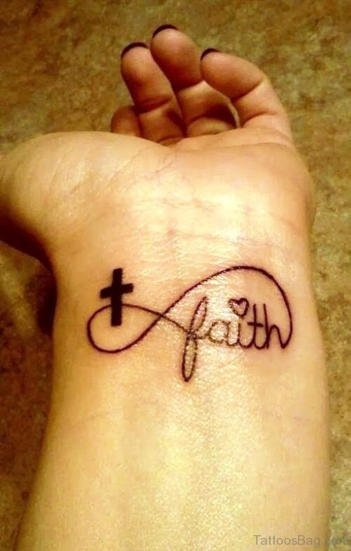 Cross And Faith Tattoo On Wrist