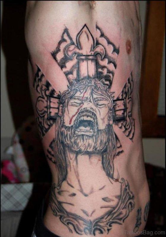Cross And Jesus Tattoo On Rib Side