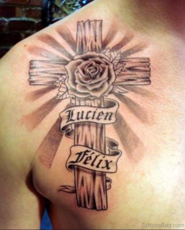 Cross And Rose Tattoo On Back