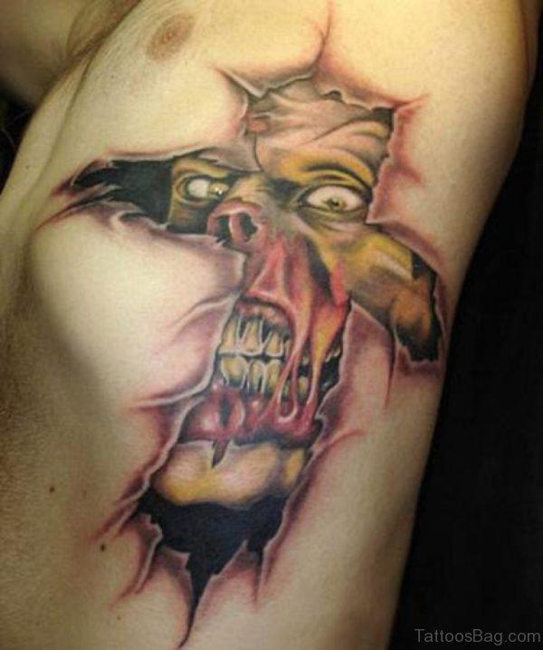 Cross Banner Tattoo On Rib