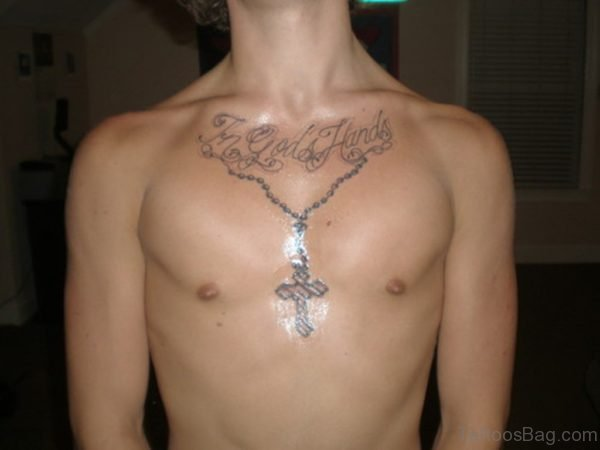 Cross Grey Ink Chest Tattoo