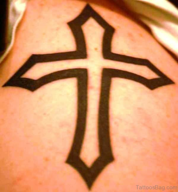 Cross Tattoo On Right Shoulder