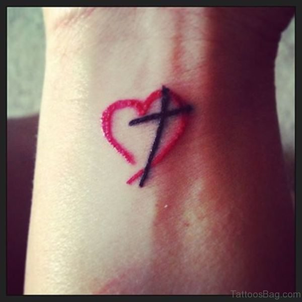 Cross Tattoo With Red Heart Design