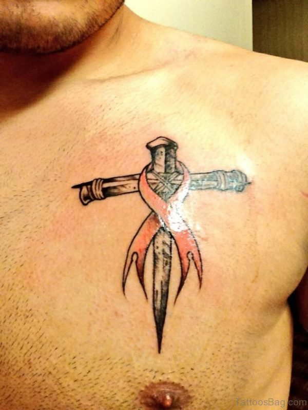 Cross With Ribbon Tattoo On Chest