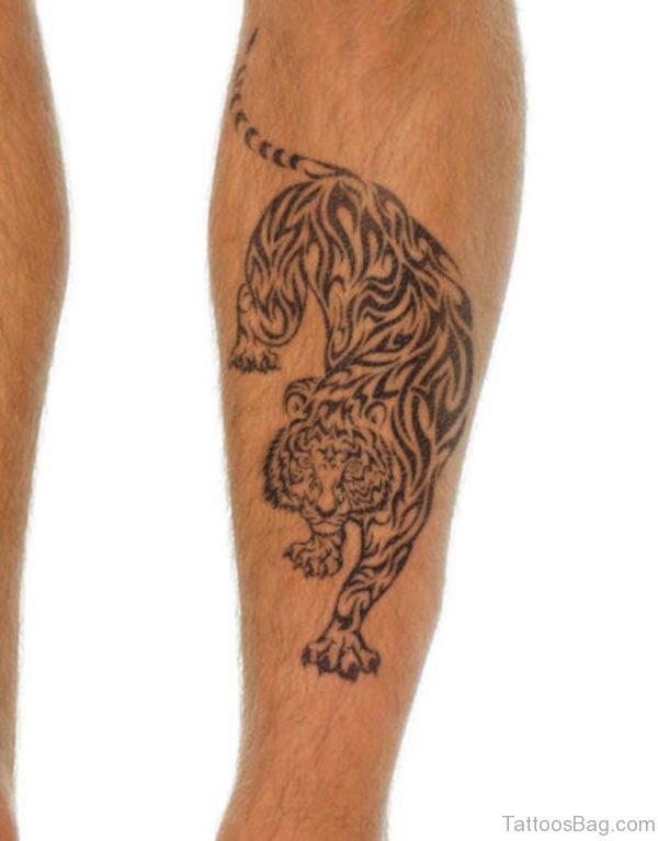 Crouching Tiger Tattoo on Leg