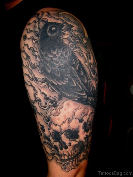 Crow And Skull Tattoo On Shoulder