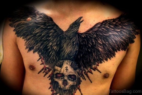 Crow And Skull Tattoo On Chest
