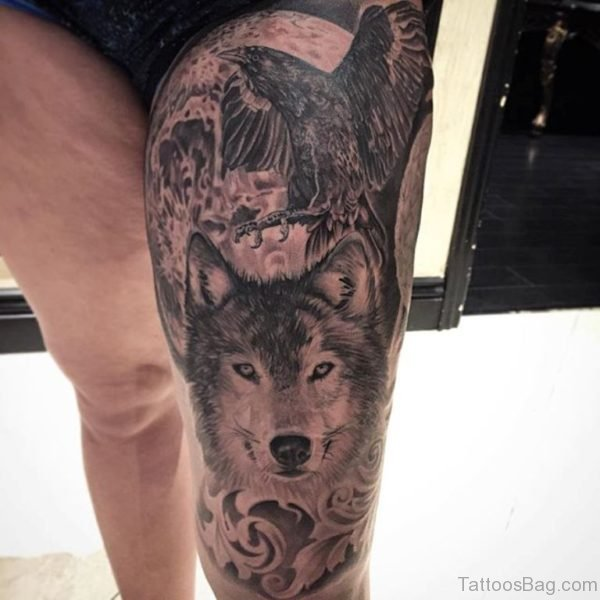 Crow And Wolf Tattoo