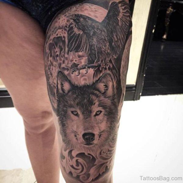 Crow And Wolf Tattoo