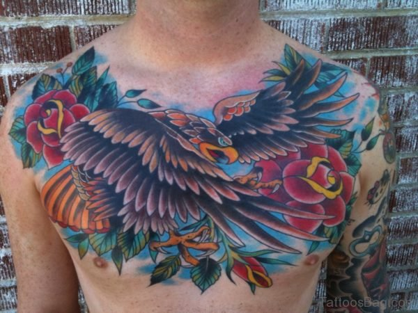 Crow Flower Tattoo On Chest