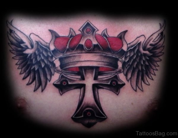 Crown And Cross Tattoo