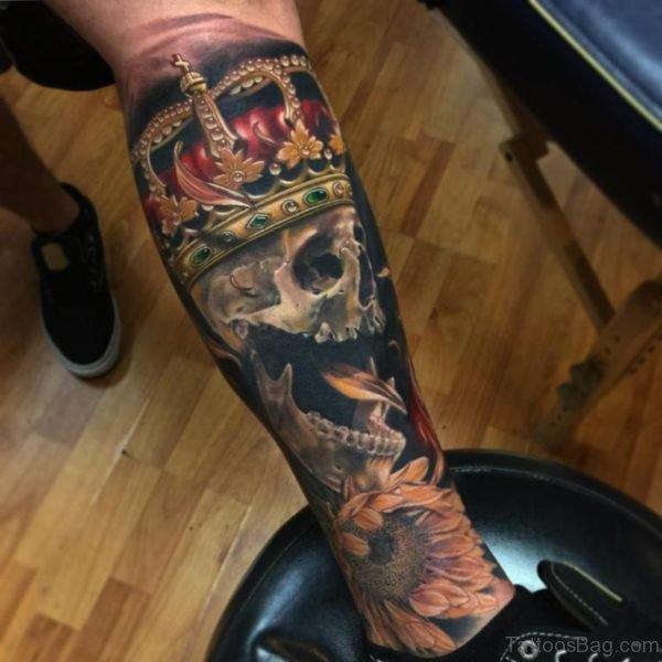 Crown And Skull Tattoo On Leg