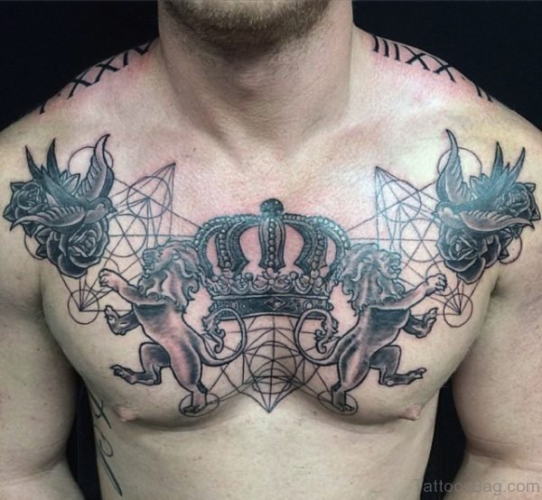 Crown And Swallow Tattoo On Chest