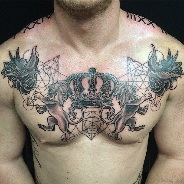 72 graceful crown tattoos on chest ForCrown Chest Tattoo
