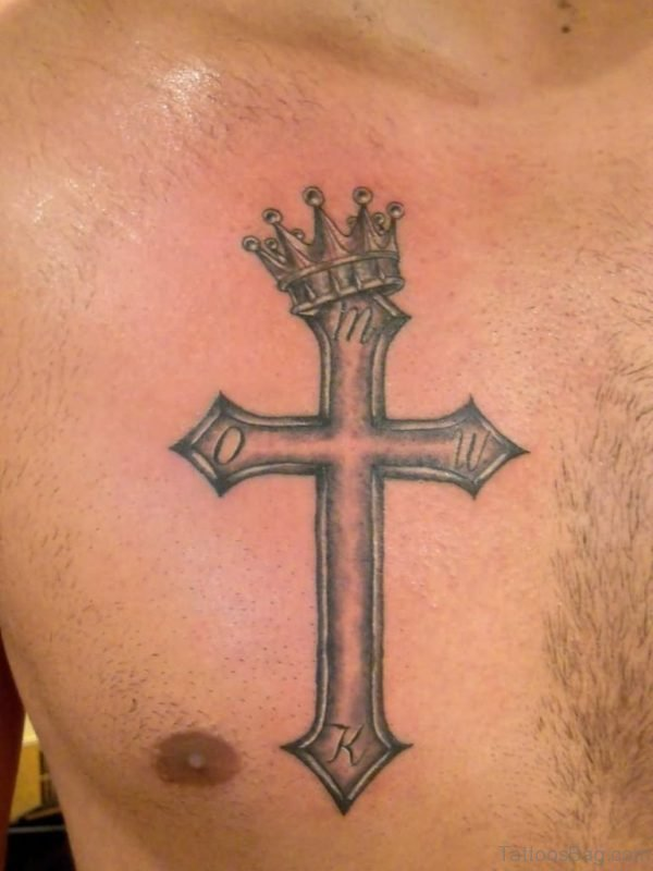 Crown Cross Tattoo On Chest