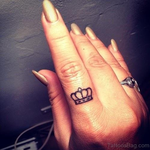 Crown Tattoo On Finger