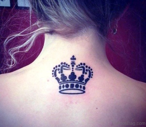 Crown Tattoo On Neck Back