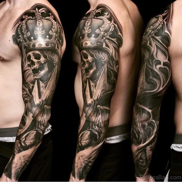 Crowned Skull Tattoo On Full Sleeve