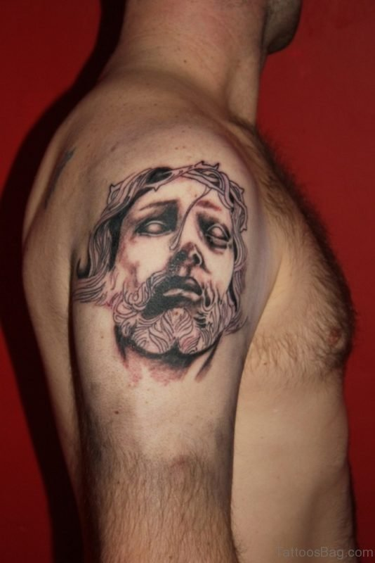 Crucified Jesus Tattoo On Shoulder
