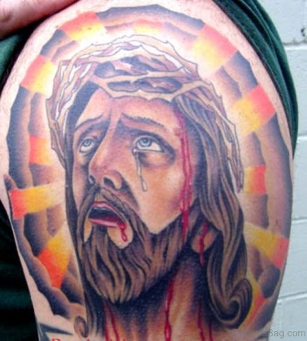 Crying Bleeding Jesus Tattoo On Shoulder