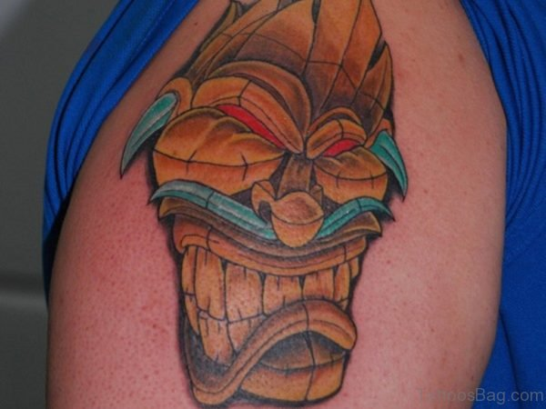 Crying Tiki Mask Tattoo
