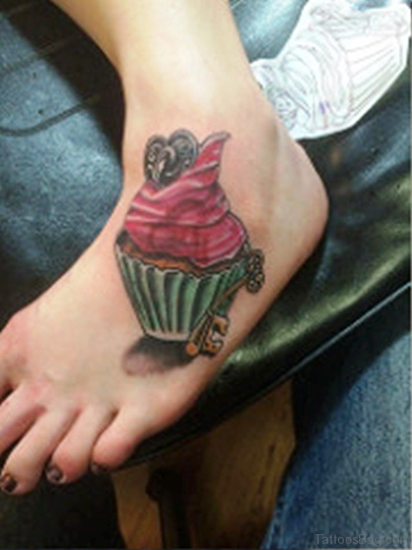 Cupcake Tattoo On Foot Image