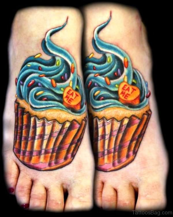Cupcake Tattoo On Foot Pic