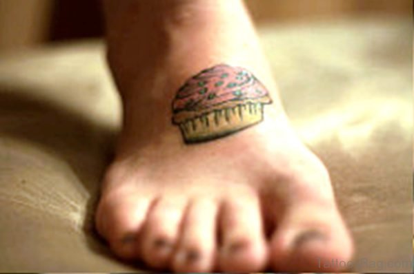 Cupcake Tattoo On Foot Picture