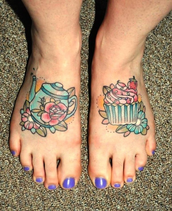 Cupcake With Flowers On Foot