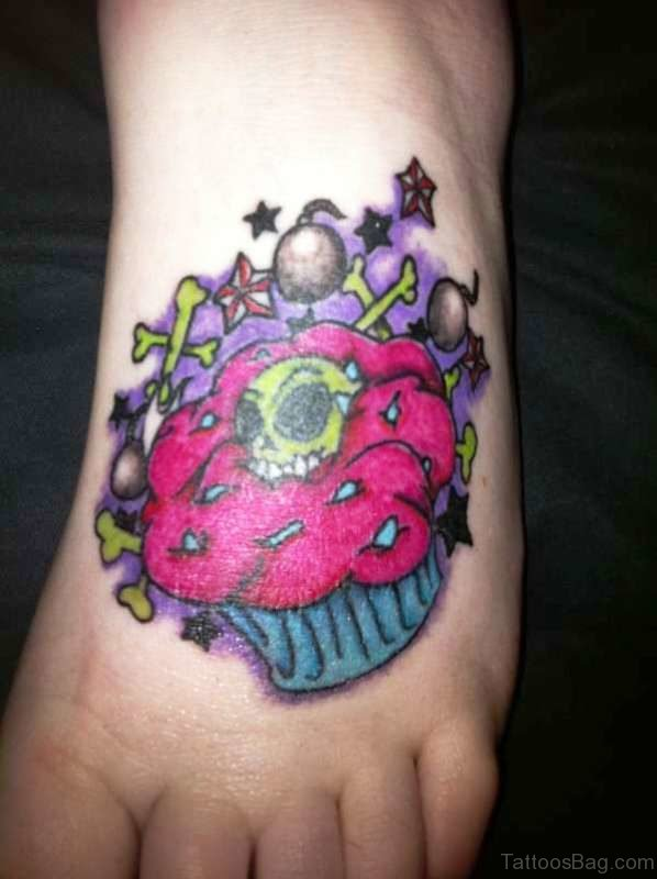 Cupcake With Green Skull Tattoo