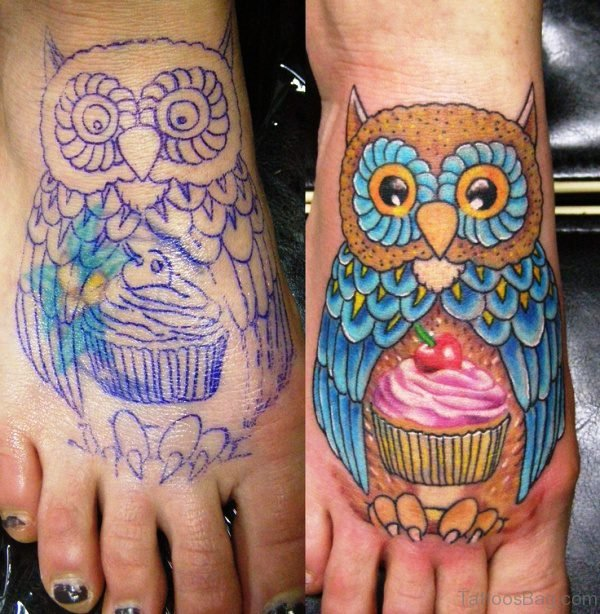 Cupcake With Owl Tattoo On Foot