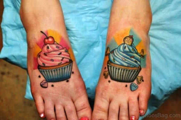 Cupcakes Tattoos On Feet
