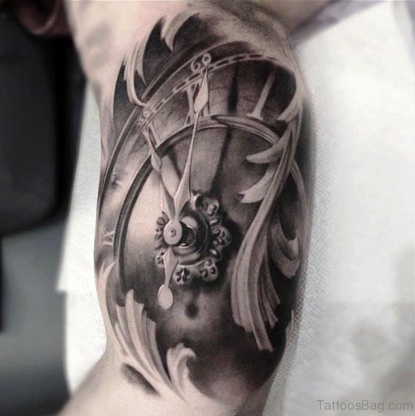 Custom Clock Tattoo Design