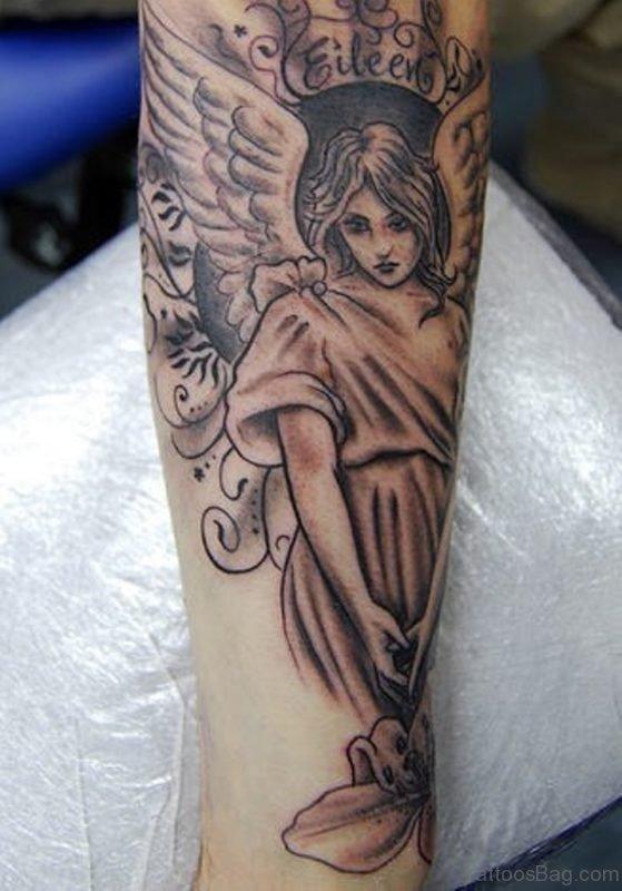 Cute Angel Tattoo Design On Leg