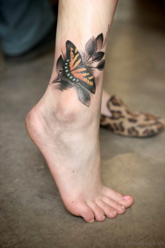 Cute Ankle Butterfly Tattoo