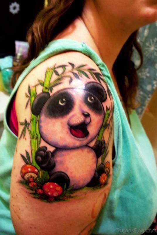 Cute Baby Panda Shoulder Tattoo