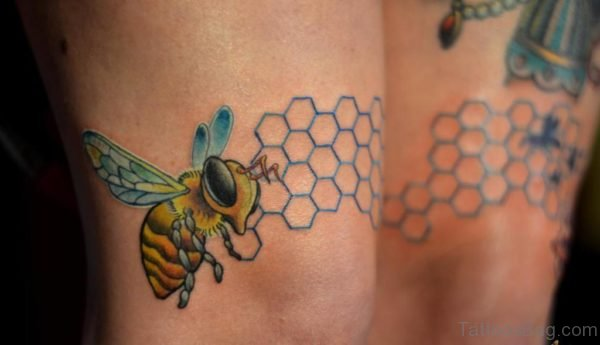 Cute Bee Tattoo On Thigh