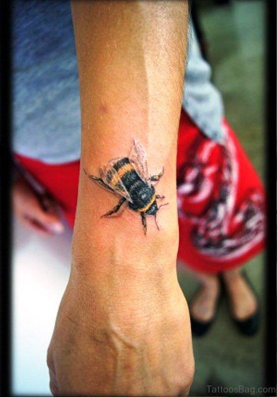 Cute Bee Tattoo On Wrist