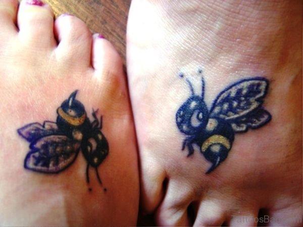 Cute Bees Tattoos On Feet