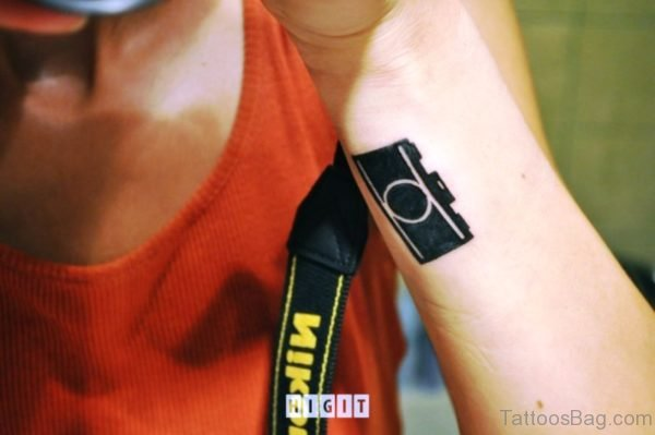 Cute Black Camera Wrist Tattoo