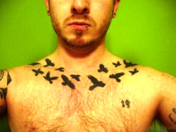 Cute Black Flying Birds Tattoo