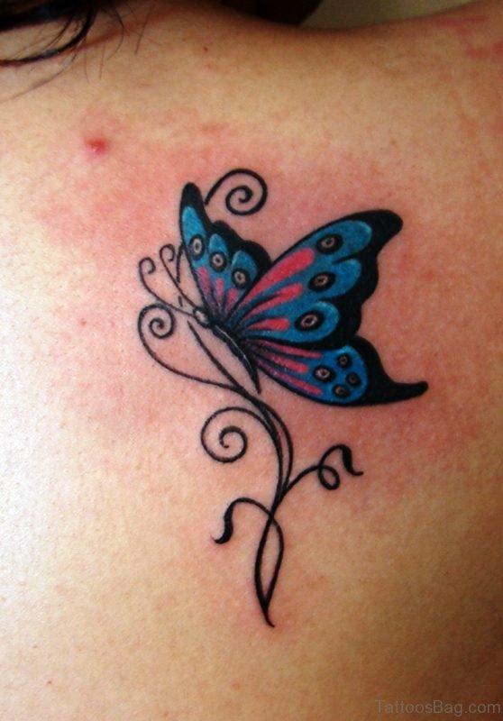 Cute Blue Butterfly Tattoo