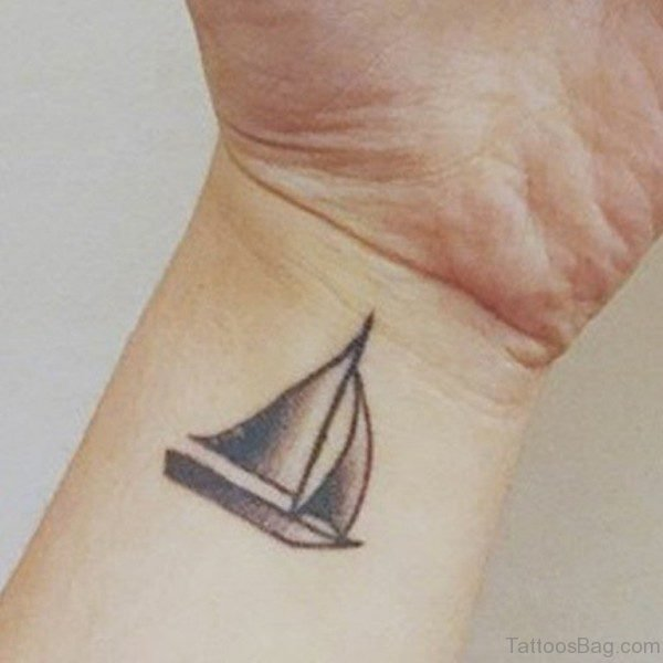 Cute Boat Tattoo On Wrist