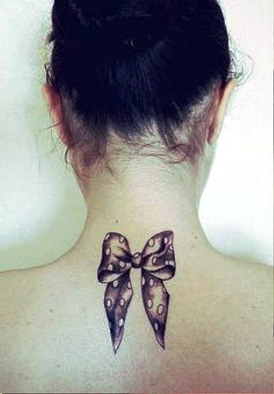 Cute Bow Tattoo On Neck