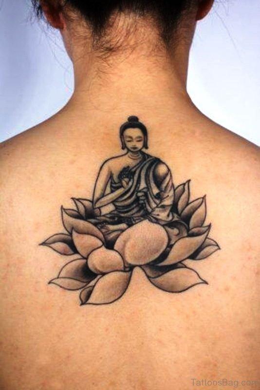 Cute Buddha Tattoo On Back