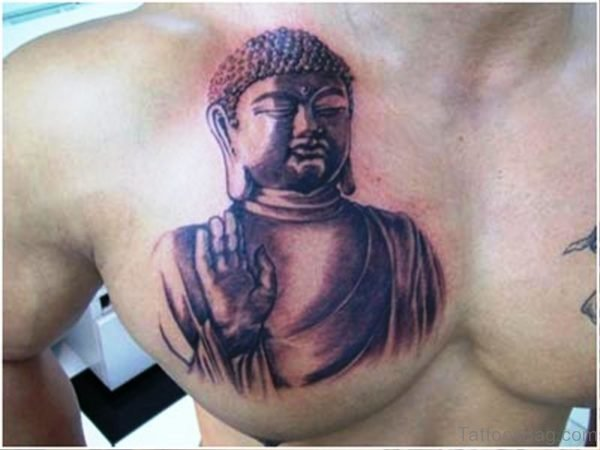 Cute Buddha Tattoo On Chest