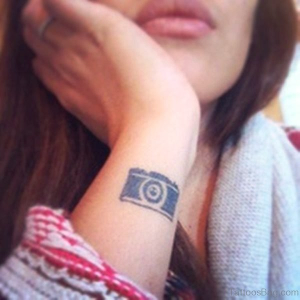 Cute Camera Tattoo On Wrist